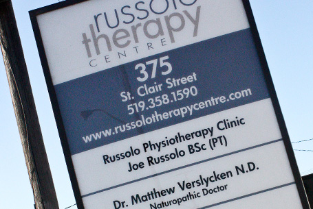 Exterior 2 sided backlit sign – Russolo Therapy Centre